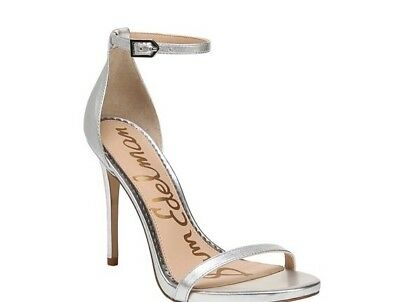$ CDN60.12 • Buy Sam Edelman Women's Ariella Ankle Strap Sandal Silver Metallic Size 8 NEW