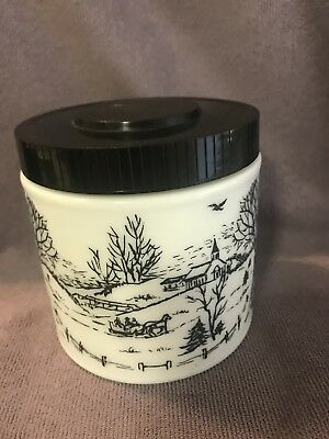$10.99 • Buy Milk Glass Canister Black And White With Black Lid
