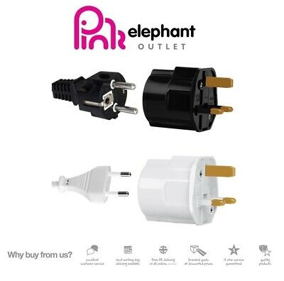 EU Euro European Schuko 2 Pin To UK 3 Pin Travel Adaptor Plug BS CE Approved • 4.99£
