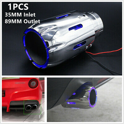 $ CDN75.67 • Buy 1x Stainless Steel Car Exhaust Tip 35MM Inlet 89MM OUT Muffler W/ Blue LED Light