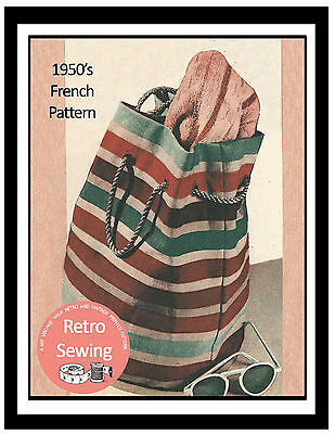 £6.99 • Buy 1950s Tote Bag French Sewing Pattern