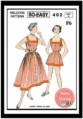 1950s Play Suit And Skirt Sewing Pattern - Rockabilly - Pin-up • 18.99£