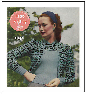 £3.99 • Buy 1940's Wartime Knitting Pattern For A Fair Isle Twin Set