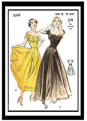 1950's Evening Dress With Decolette Neckline Sewing Pattern - Pin Up -Rockabilly • 18.99£