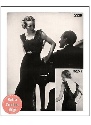 1930's Evening Or Wedding Gown Crochet Pattern • 4.99£