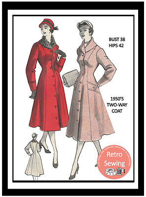 1950's Two Way Princess Coat Sewing Pattern - Rockabilly - Pin Up Bust 38 • 19.99£