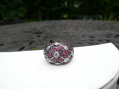 $85 • Buy Sterling Silver Charles Winston Raspberry & White CZ Dome Ring