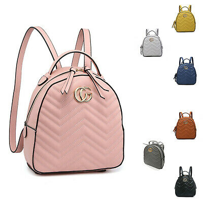 Girl Women Lady Synthetic Leather Small Backpack Back Bag Slightly V-Quilted UK • 16.99£