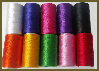 10 Spools Set Sewing Machine Silk Embroidery Threads BROTHER JANOME GUTERMAN • 4.89£