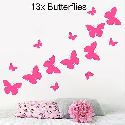 BUTTERFLY Wall Art Vinyl Butterfly Stickers Girls Childrens Room  • 2.49£