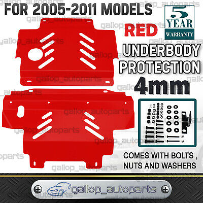 AU176 • Buy For Nissan Navara D40 2005-2011 St St-X Rx Bash Plate 2pc Sump Guard Set 4MM RED
