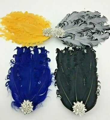 Black Yellow Blue Silver Feather Fascinator Hair Clip Races 1920s Vintage  • 5.75£