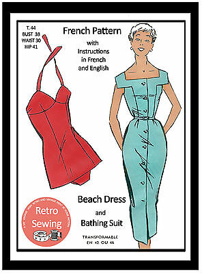 1950s Bombshell Bathing Suit And Beach Dress Sewing Pattern - Rockabilly  Pin Up • 18.99£