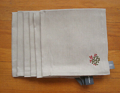 Smith & Hawken 6 Cotton Linen Christmas Napkins Holly Berries  NWT  20  Sq. • 35.97£