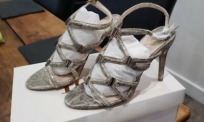 £35 • Buy Ladies Gold High Heel Sandals  Caged Party Heels, Strappy Size 4 NIB