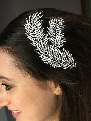 Large Silver Crystal Feather Bridal Wedding Hair Comb Art Deco 1920s Style • 29.99£