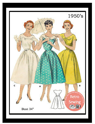 1950s Yoked Summer Dress Vintage Sewing Pattern - Rockabilly - Pin Up - Copy • 18.99£
