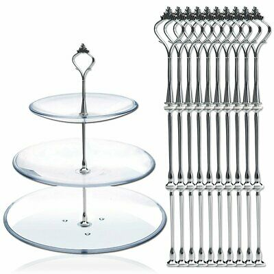 £10.99 • Buy 10 X Sets 2 Or 3 Tier Cake Plate Stand Fittings Silver Plate Stands