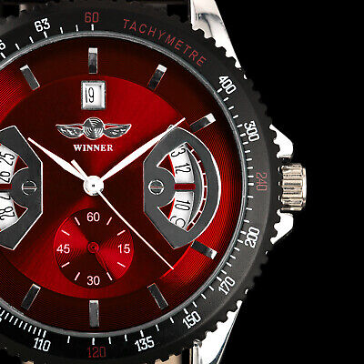 AU33.23 • Buy Automatic Mechanical Men's Watch Red Dial Leather Strap Auto Date Display Man