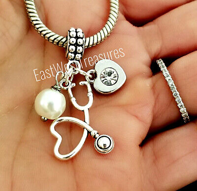 Stethoscope Doctor Nurse Medical Charm Bracelet Necklace Jewelry Gift With Pearl • 36.08£