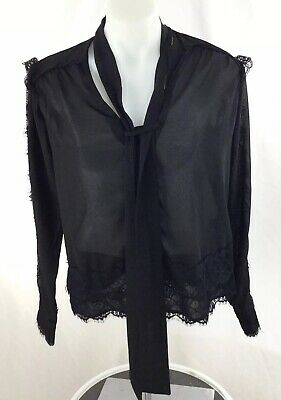 $ CDN31.88 • Buy Anthropologie Moulinette Soeurs Black Lace Top Sz Medium M Front Tie Blouse