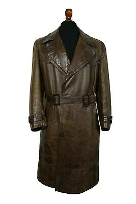 Vintage WW2 German Horsehide Leather Military Officers Trench Coat 42S • 192.50£