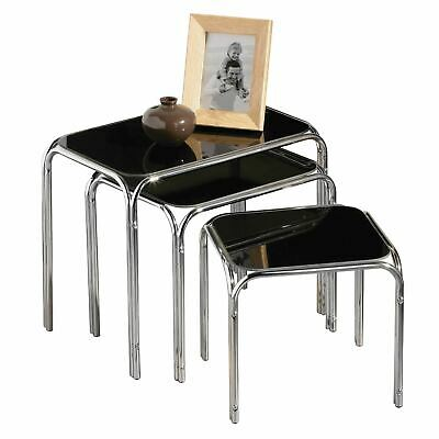 Nest Of 3 Tables, Black Glass, Chrome Finish Legs • 62.08£
