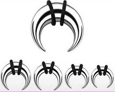 $19.49 • Buy 8 Steel Tapers Talons Pinchers Ear Crescents 0g 2g 4g 6g 8g 10g 14g Ear Gauges