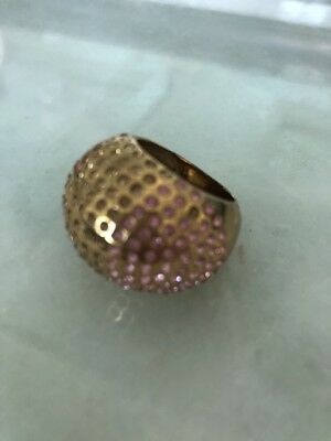 3602a6895 $270 Swarovski Chic Pink Crystal Cognac Ring Gold Plated Size 52(US 8/M