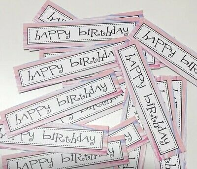 12 MARBLE Design HAPPY BIRTHDAY Sentiments/Banners Hand Made Card Toppers (MBOB) • 0.99£