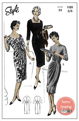 1950s Draped Cocktail/Day Dress Sewing Pattern -  Pin Up - Rockabilly - Copy • 18.99£