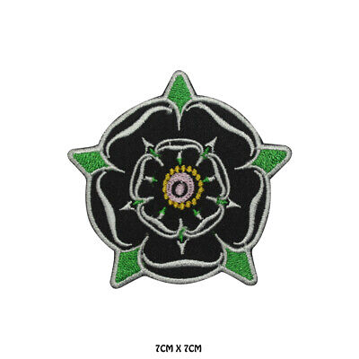 £1.99 • Buy Yorkshire Black Flower Embroidered Patch Iron On Sew On Badge