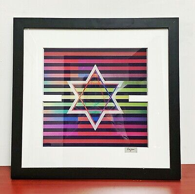 $1499 • Buy Yaacov AGAM Original Color Agamograph  Star Of David  Signed And Framed