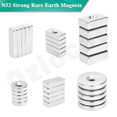 AU8.99 • Buy N52 Strong Rare Earth NdFeB Neodymium Magnets Block Ring Round Cuboid Experiment