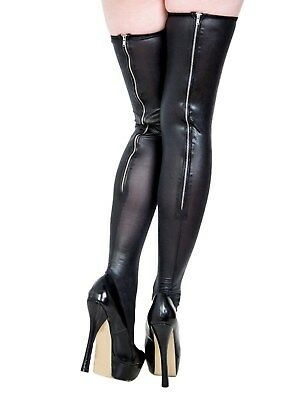 Latex / Leather Look (Faux) Stockings With Silver Zip At Back Elasticated Tops • 15.99£