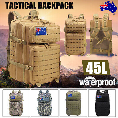 AU33.24 • Buy 45L Men Large Military Tactical Backpack Camping Cycling Hiking Travel Sport Bag