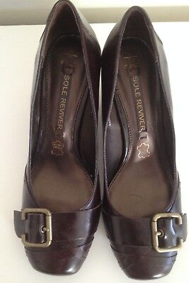 £10 • Buy Ladies Brown Leather Court Shoes With Buckle - Size 4.5 - NEXT Sole Reviver