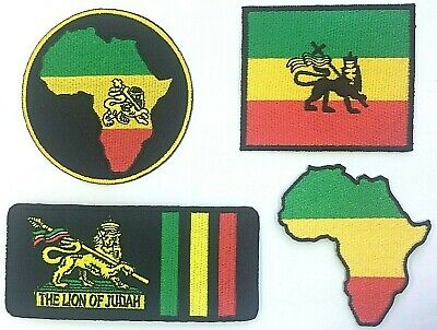 RASTA PATCH; AFRICA, LION OF JUDAH *SEW-ON/IRON-ON* One Love, Reggae, Bob Marley • 2.39£