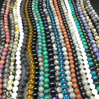 $ CDN0.99 • Buy Wholesale Lot Natural Gemstone Round Spacer Loose Beads 4mm 6mm 8mm 10mm 12mm
