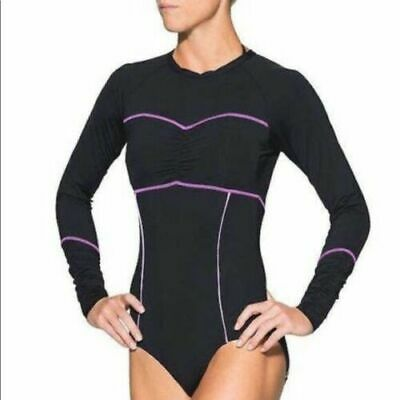e4c7b99bc7b Athleta Black Ariel One Piece Swimsuit Rashguard Size M • 29.00$
