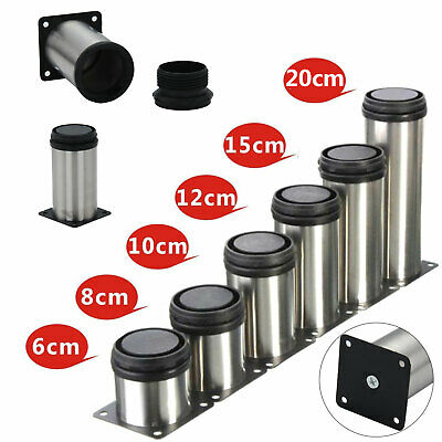 4x Adjustable Cabinet Legs Stainless Steel Kitchens Feet Rounds Stand Holders UK • 6.25£