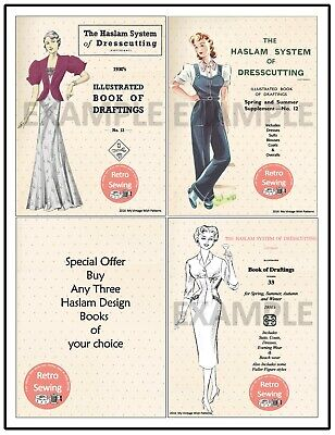 Haslam System Of Dresscutting - Special Offer For Three Design Books • 28.99£