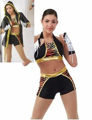 £13.13 • Buy Eye Of The Tiger Dance Costume 3pc Crop Top Boxer Shorts W/ Robe CXS 6x7 AXL