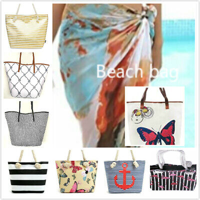 £3.50 • Buy Ladies Summer Beach Bag Canvas Tote Foil Gold Holiday Shoulder Travel Oversized