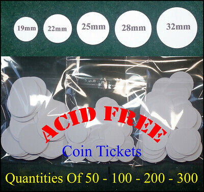 Coin Id, Price Tickets 19mm -22mm - 25mm - 28mm - 32mm  Acid Free Circular Card  • 3£