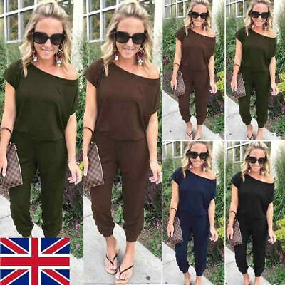 Fashion Womens Off Shoulder Short Sleeve Playsuit Ladies Casual Long Jumpsuit • 4.49£