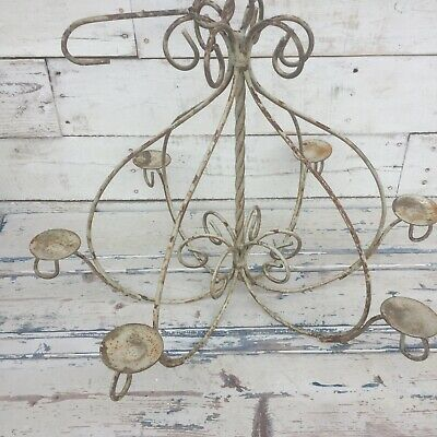 Antique Style Wrought Iron Candle Candelabra Chandelier Light Farmhouse Shic  • 36.79£