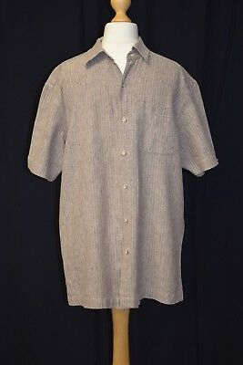 Mens Medium Atlantic Bay Linen Blend Brown Short Sleeve Casual Summer Shirt • 10£