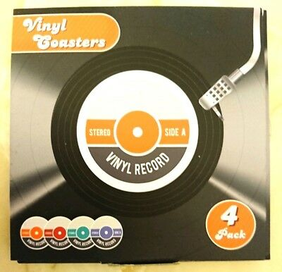 Novelty Coasters Vinyl Recordx4 Father's Day  Music Lovers RETRO DJ DEEJAY • 2.69£