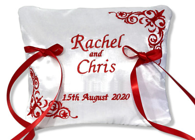 Beautiful Personalised Wedding Bearer Ring Cushion Pillow Red White Any Name   • 18£